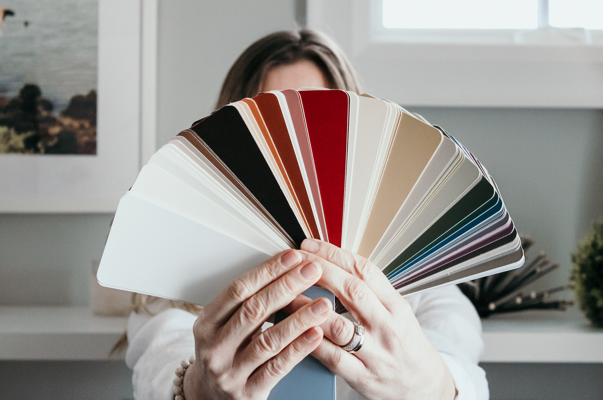 a variety of paint chips fanned out
