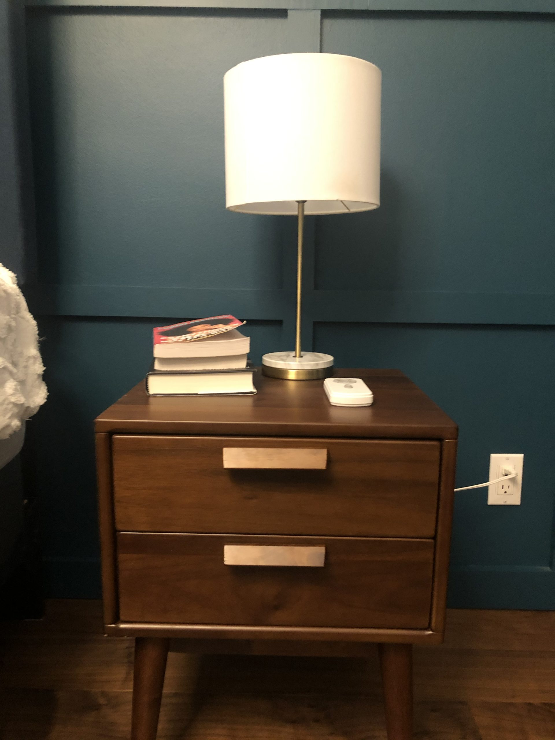 stylized retro, wooden nightside table with lamp