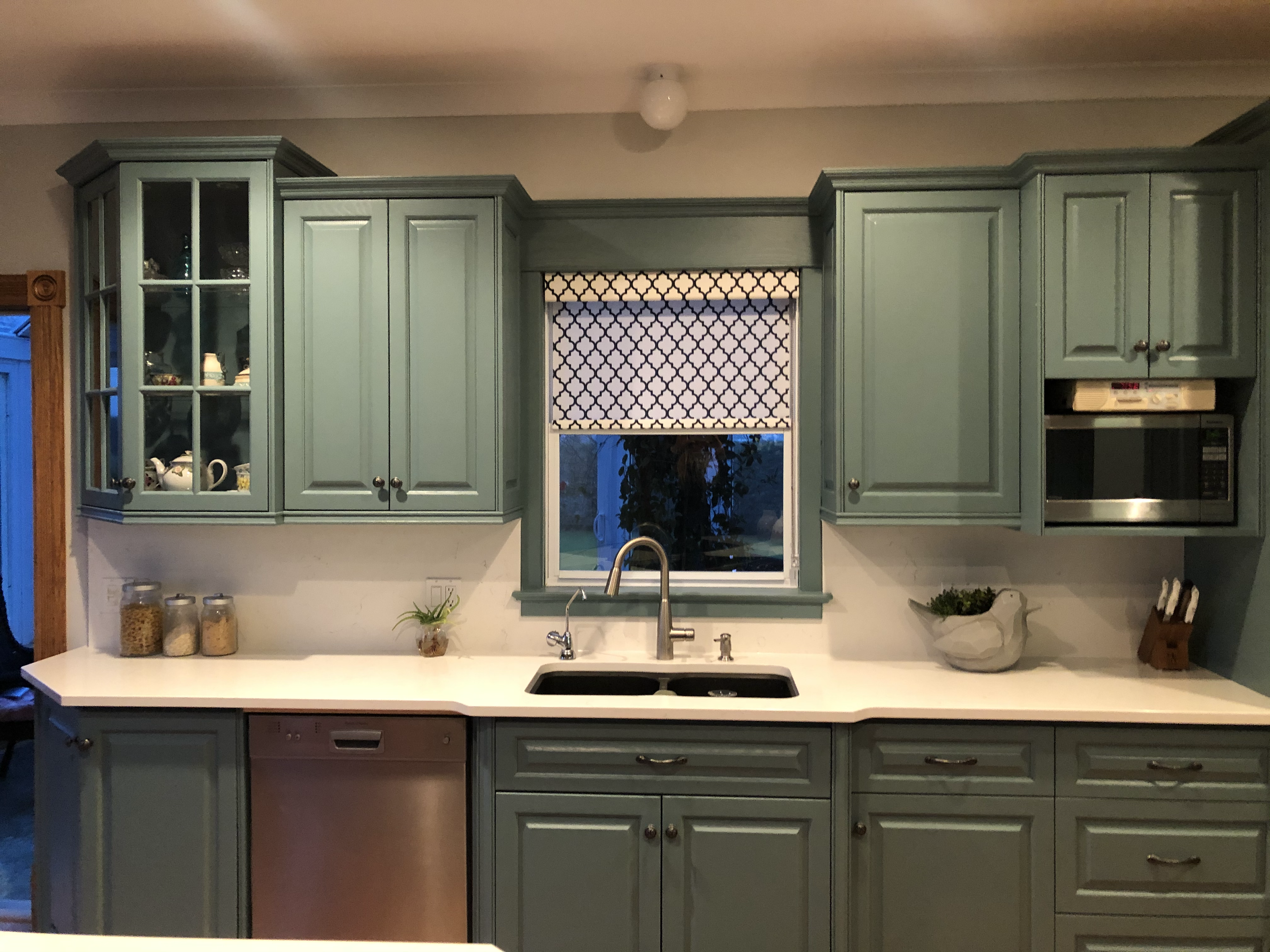 up close look at kitchen sink with overhead window